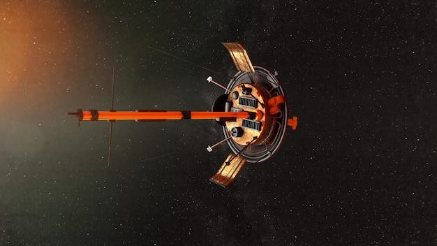 Nave espacial voando pelo universo