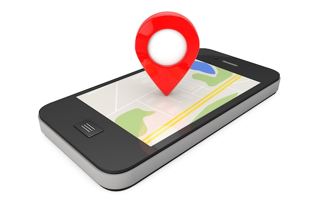Navegação via smartphone. ponteiro de localização no telefone com mapa em um fundo branco. renderização 3d