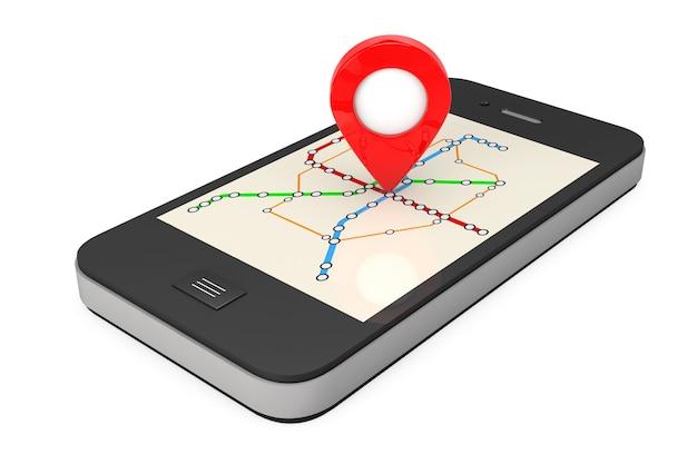 Navegação via smartphone. ponteiro de localização no telefone com o metro de transporte abstrato ou mapa do metrô em um fundo branco. renderização 3d