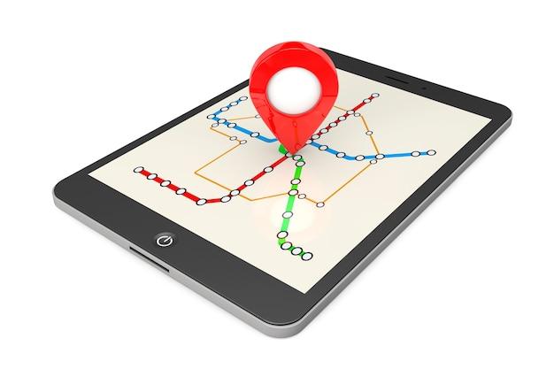 Navegação via tablet pc. ponteiro de localização no tablet pc com mapa de metrô ou metrô de transporte abstrato em um fundo branco. renderização 3d