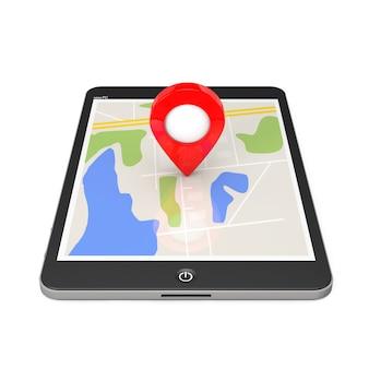 Navegação via tablet pc. ponteiro de localização no tablet pc com mapa em um fundo branco. renderização 3d