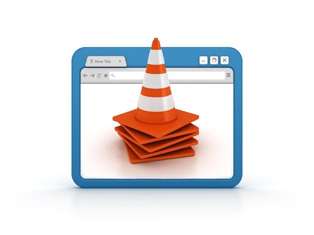 Navegador da internet com cones de trânsito