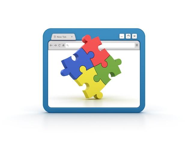 Navegador de internet com quebra-cabeça