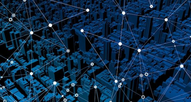 Navegador gps simulado com mapas. edifícios e estruturas