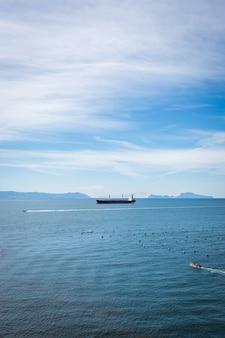 Navio de carga do contêiner vazio no mar azul. vista aérea