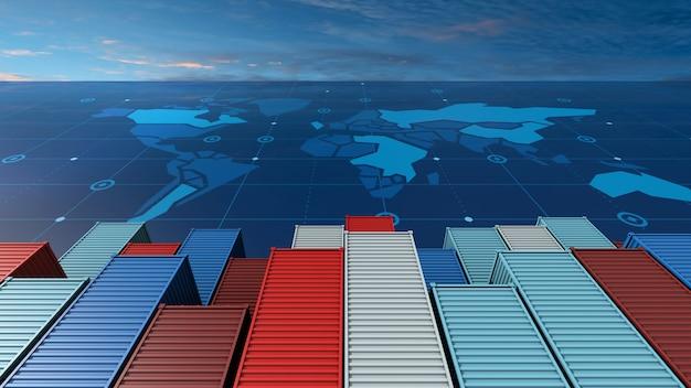 Navio de carga porta-contêineres em negócios de importação exportação logística no mapa do mundo digital