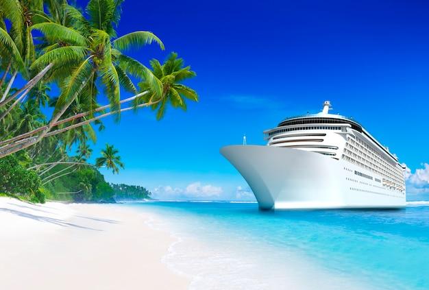 Navio de cruzeiro 3d em uma praia tropical paraíso em samoa