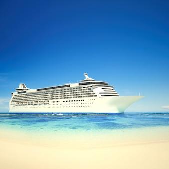Navio de cruzeiro 3d em uma praia tropical