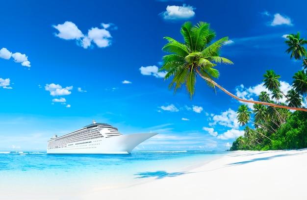 Navio de cruzeiro 3d pela costa