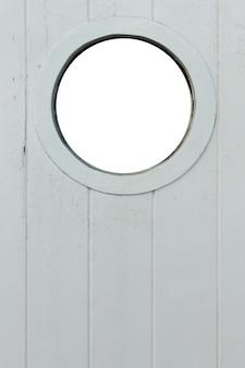 Navio em branco, olho de boi, vigia, janela circular com fundo branco em branco no vintage b