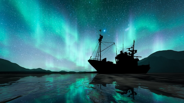 Navio silhueta com aurora