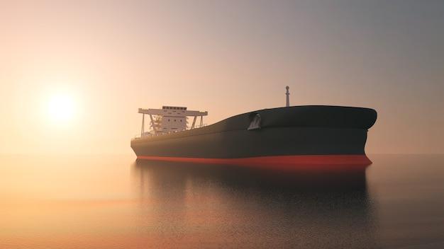 Navio-tanque navegando pelo oceano ao pôr do sol