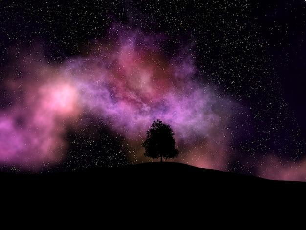 Nebulosa flutuante com uma silhueta de árvore