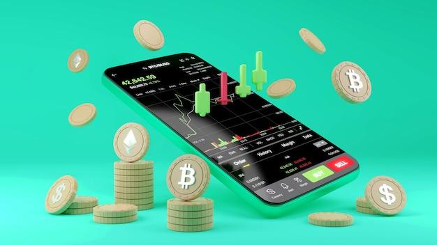 Negociação de criptomoeda ou bitcoin no smartphone e crescimento investimento em informações de dados da bolsa de valores. conceito de comerciante. renderização 3d.
