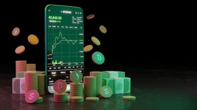 Negociação de criptomoeda ou bitcoin no smartphone e crescimento investimento em informações de dados na bolsa de valores. conceito de comerciante. renderização 3d.