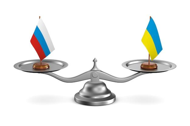 Negociação entre a rússia e a ucrânia ilustração de background.3d branco