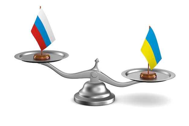 Negociação entre a rússia e a ucrânia ilustração de background.3d branco Foto Premium