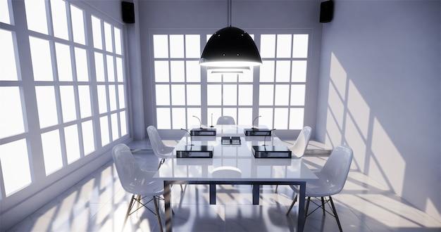 Negócio do escritório - sala de reunião bonita da sala de reuniões e tabela de conferência, estilo moderno. renderização 3d