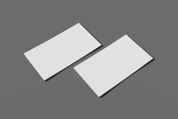 Negócio em branco de dois maquetes ou cartão de visita em uma renderização 3d de fundo cinza
