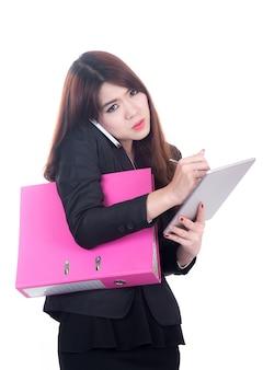 Negócio ocupado mulher conceito multi tarefa com telefone