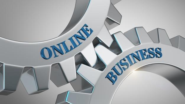 Negócio on-line escrito na roda de engrenagem