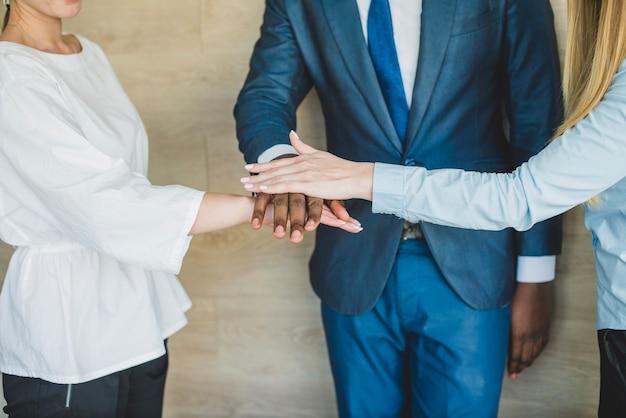Negócio, pessoas, colocar, mãos, junto