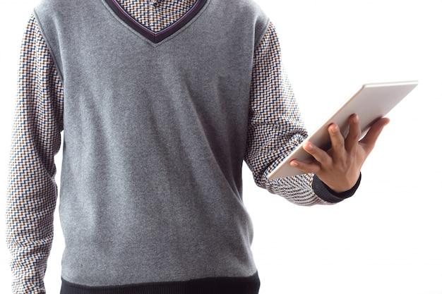 Negócio portátil homens brancos touchscreen