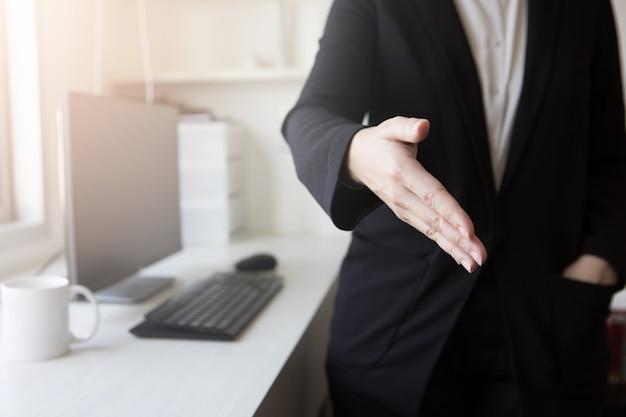 Negócio, trabalho, sucesso, aperto mão, negócio, reunião, escritório