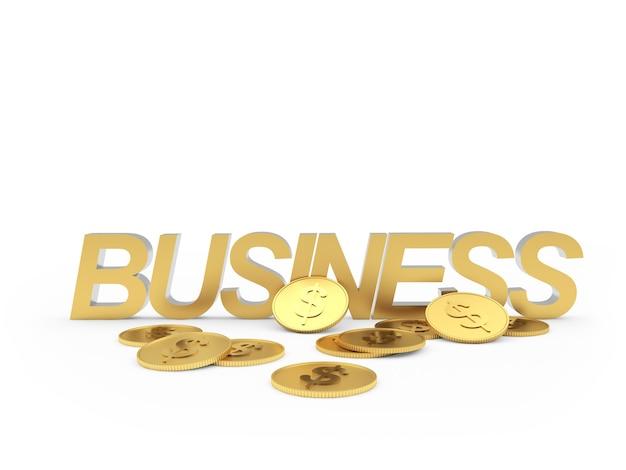 Negócios de texto com moedas espalhadas 3d