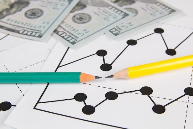 Negócios desenho gráfico gráficos, dólares e panils