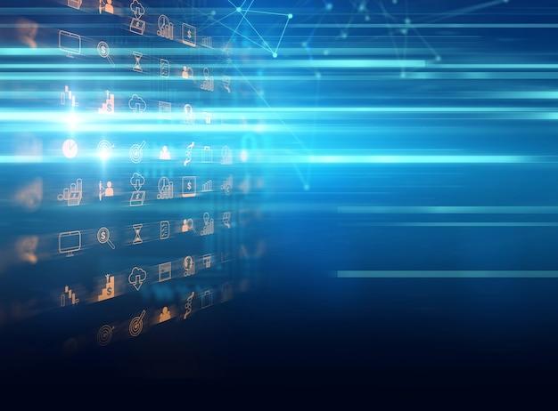 Negócios e aprendizagem ícone no fundo azul tecnologia