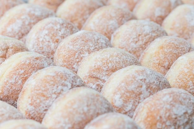 Negócios padaria closeup fresco donut jam fundo