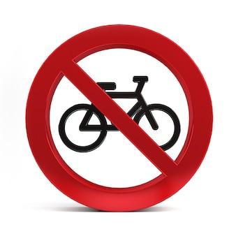 Nenhum sinal de bicicleta isolado na renderização 3d de fundo branco.
