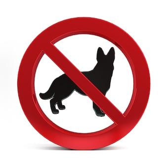 Nenhum sinal de cão isolado na renderização 3d de fundo branco.
