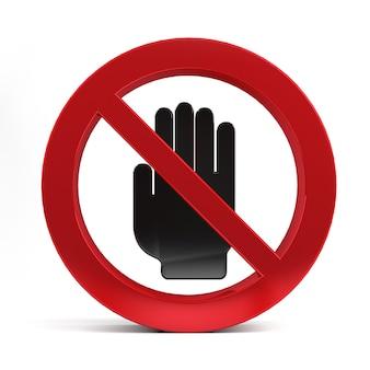 Nenhum sinal de mão de entrada isolado na renderização 3d de fundo branco.