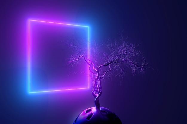 Néon abstrato com árvore mística sem folhas com galhos quebrados