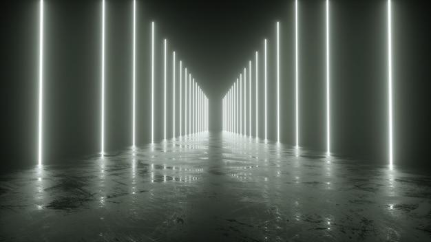 Néon branco saindo do chão, lindo reflexo, renderização em 3d