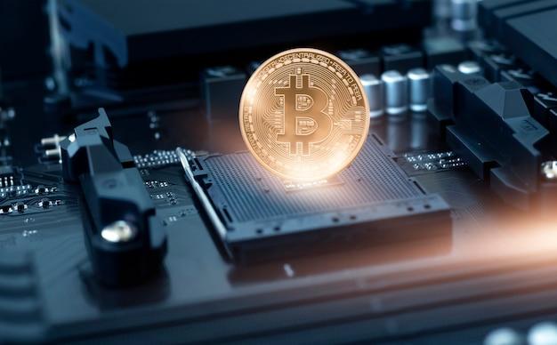 Néon escuro abstrato com bitcoin, linhas dinâmicas, raios