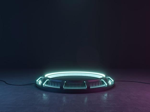 Néon futurista do sci fi empty stage. renderização 3d