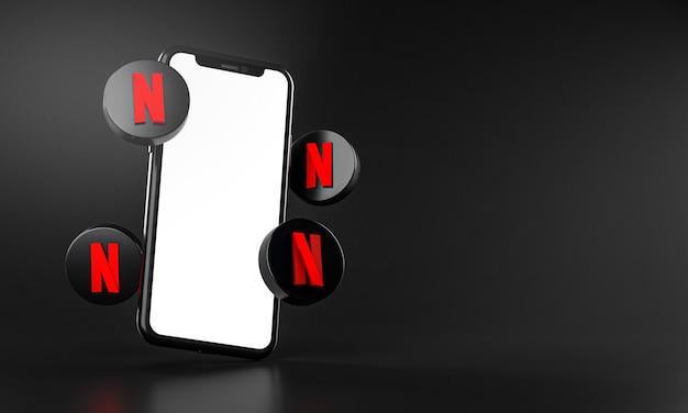 Netflix icons around smartphone app rendering 3d