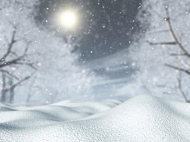 Neve 3d contra uma paisagem de árvore em uma nevasca