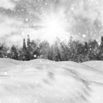 Neve 3d contra uma paisagem de inverno desfocado