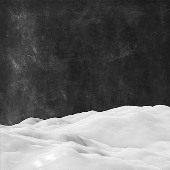 Neve 3d em um fundo de textura grunge