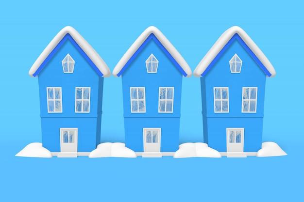 Neve idêntica da casa do inverno três da rendição 3d no telhado, montes de neve em um fundo azul.