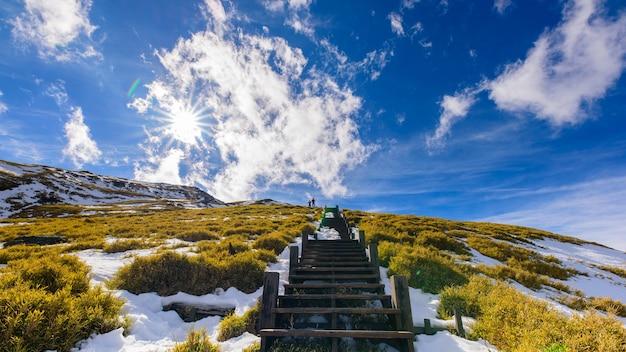 Neve, nuvens, montanhas, escadas e sol.