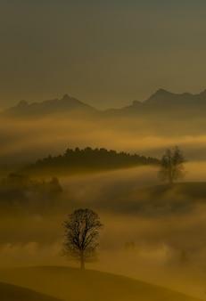 Névoa e montanhas