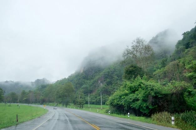 Nevoeiro da montanha, estação chuvosa em estrada rural