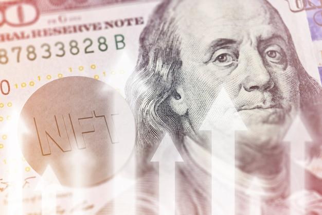 Nft on on us dólar closeup ascensão da tecnologia nft lançando nova tecnologia nft monetizando arte com ...