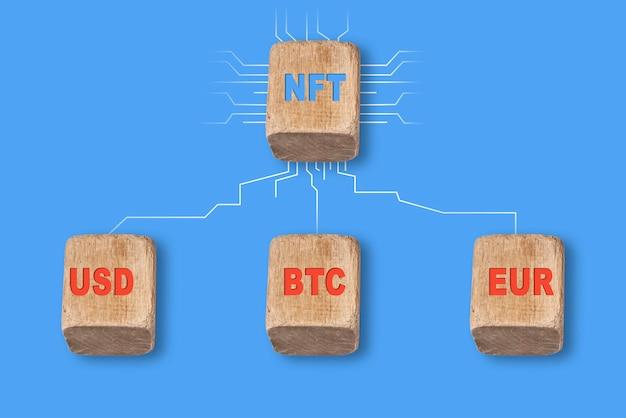 Nft usd btc e eur nft e moedas em cubos de madeira