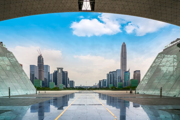 Nightscape da cidade de shenzhen e arquitetura